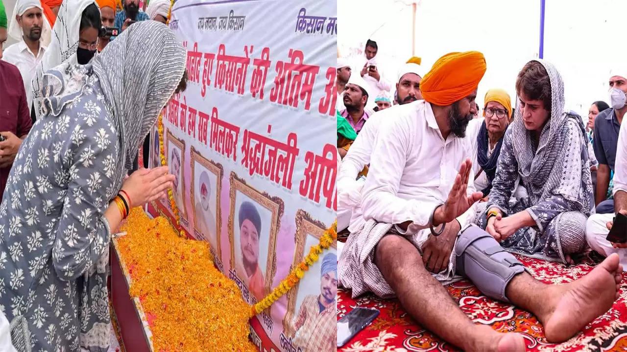 कांग्रेस महासचिव प्रियंका गांधी लखीमपुर खीरी की हिंसक घटना में मारे गए किसानों की अंतिम अरदास में शामिल हुईं