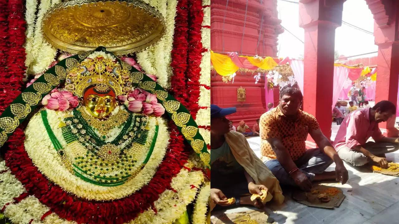 दुर्गाकुंड स्थित दुर्गा मंदिर में वार्षिक श्रृंगार के तीसरे दिन मंदिर प्रांगण में भंडारा