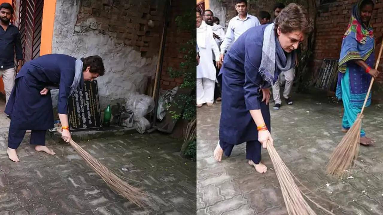 प्रियंका गांधी वाड्रा ने शुक्रवार को लखनऊ के लवकुश नगर स्थित वाल्मीकि आश्रम में सफाई